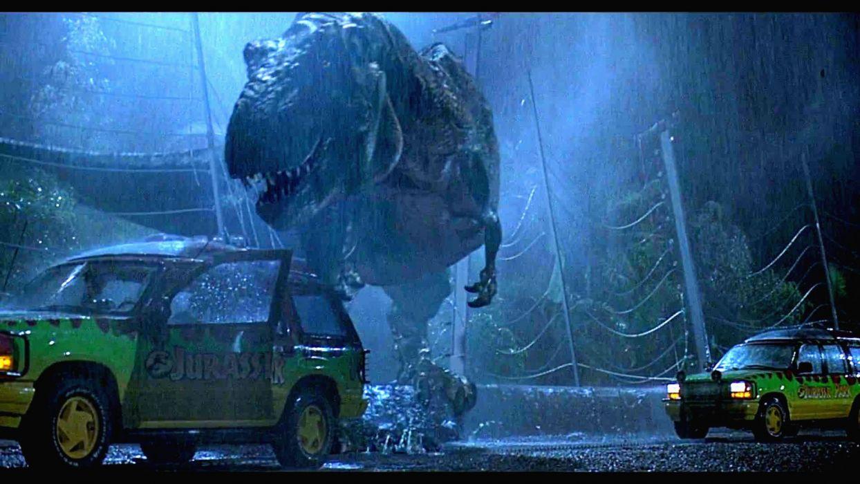 JURASSIC PARK adventure sci-fi fantasy dinosaur movie film rain dark wallpaper