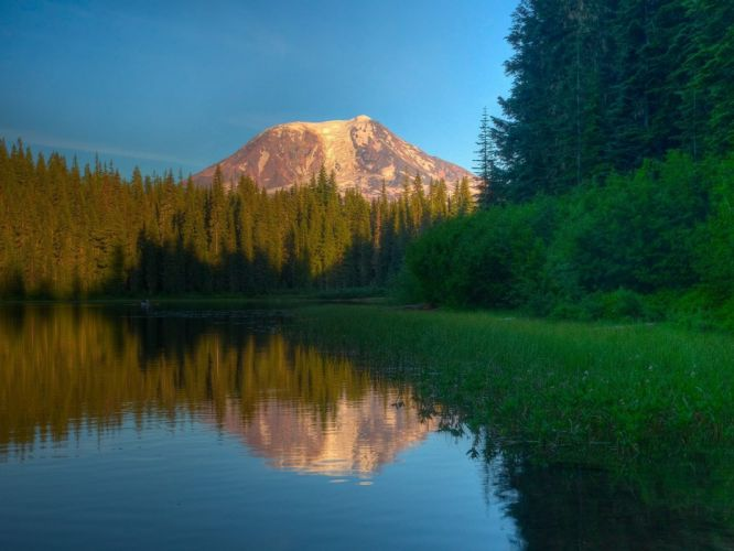 water mountains landscapes nature trees wallpaper