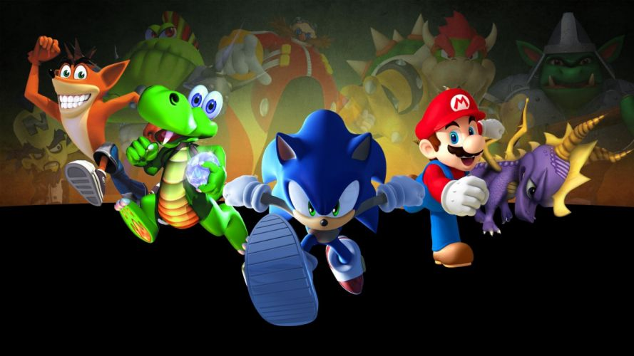 Sonic the Hedgehog video games Mario heroes characters Crash Bandicoot Spyro the Dragon five Croc wallpaper