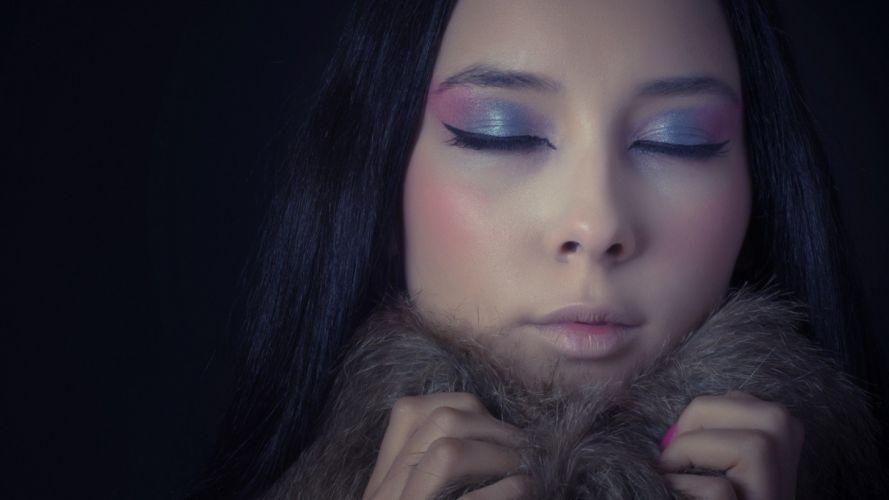 women blue makeup wallpaper