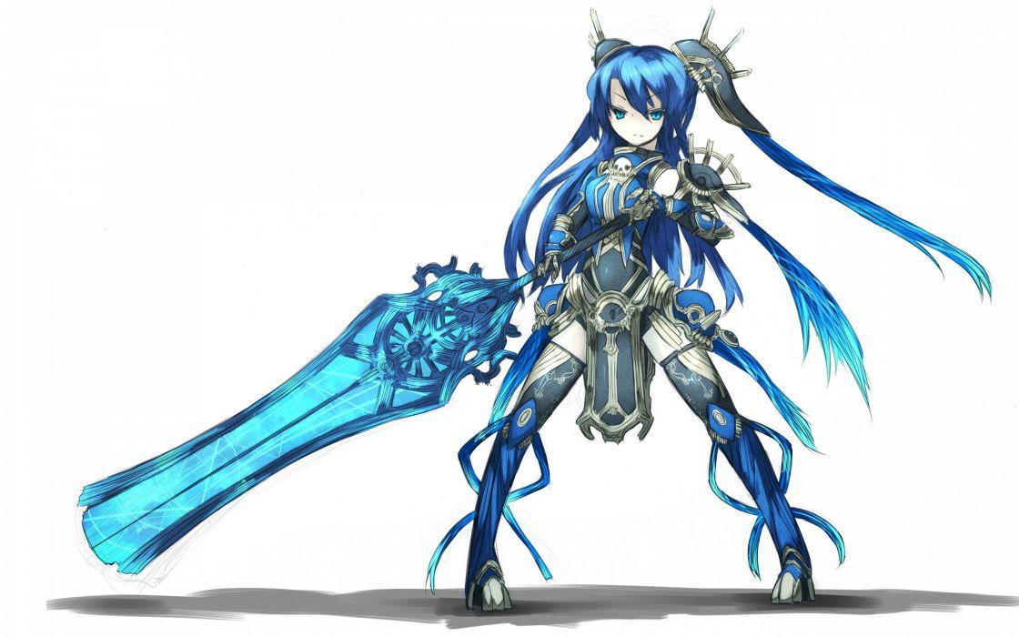 blue eyes weapons blue hair armor twintails simple background anime girls swords Shirogane Usagi (Artist) wallpaper