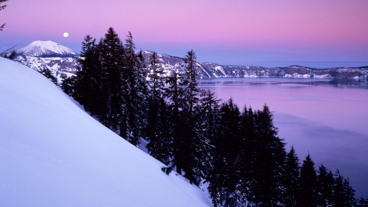 landscapes nature winter Oregon National Park crater lake wallpaper