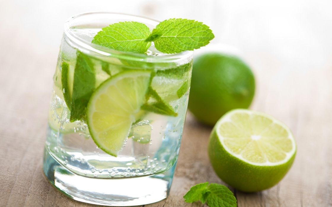 water glass fruits limes mint drinks mojito wallpaper