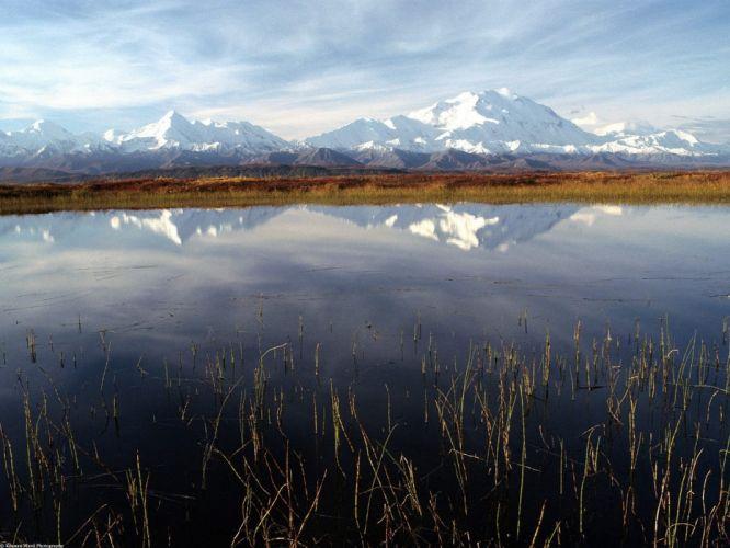 landscapes nature autumn Alaska ponds wallpaper