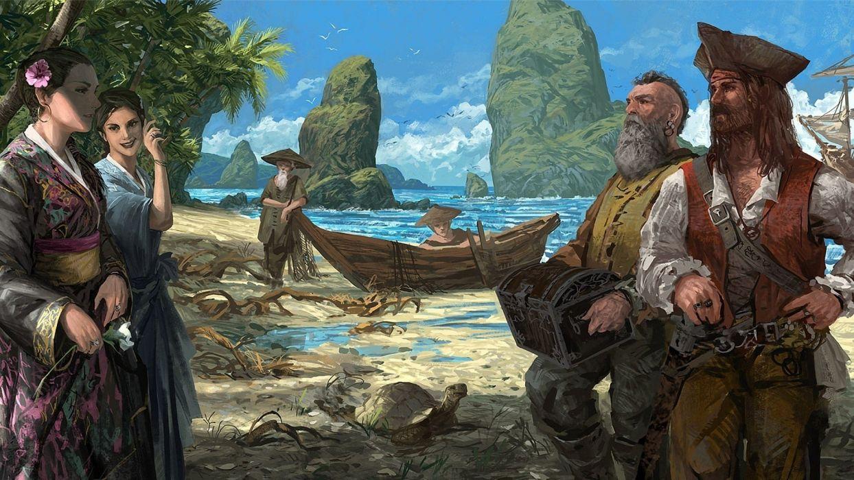 pirates artwork beaches wallpaper
