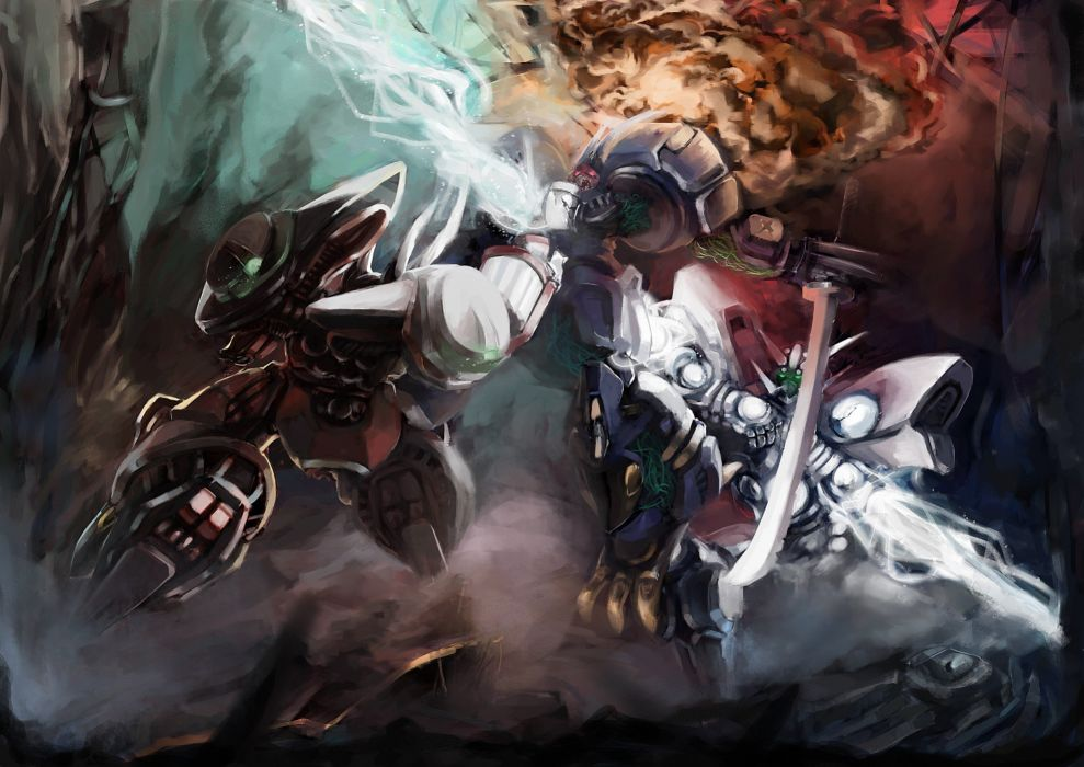 explosions katana mecha electricity Super Robot Wars wallpaper