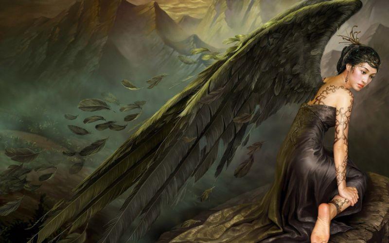 brunettes tattoos angels women mountains wings feathers fantasy art artwork black dress Yuehui Tang wallpaper