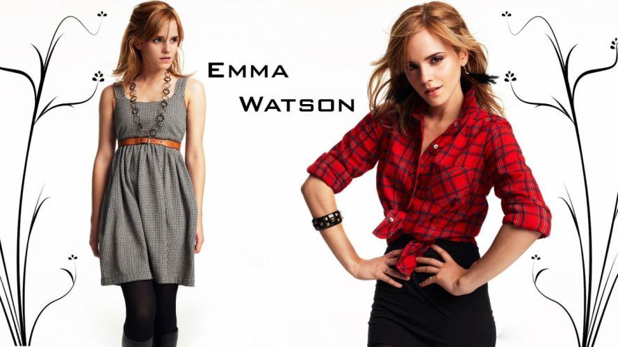 women Emma Watson dress shirts wallpaper