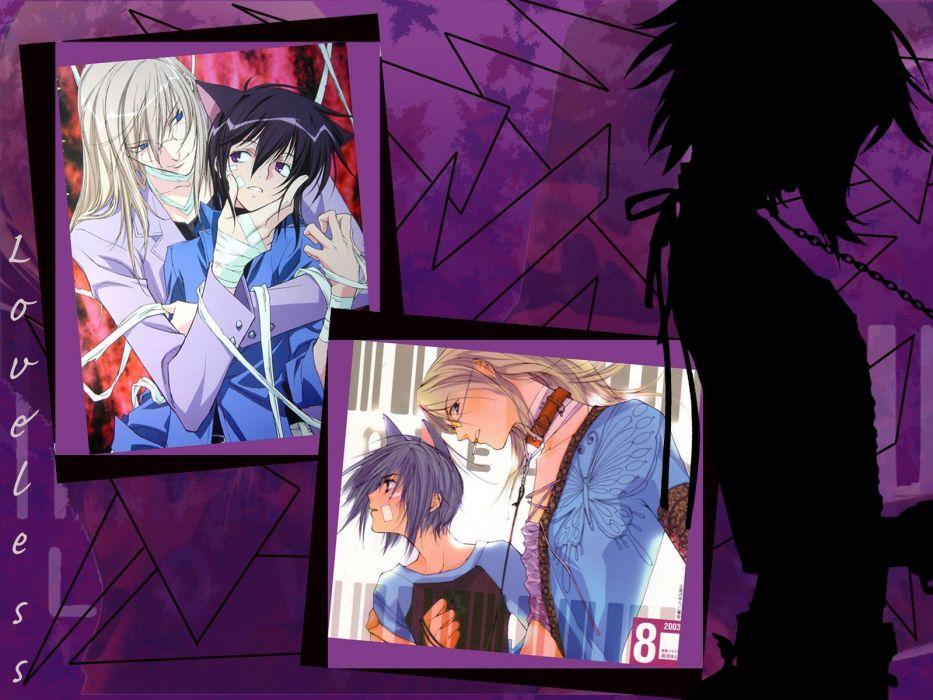 silhouettes Loveless collar anime anime boys Ritsuka Aoyagi Soubi Agatsuma chains bandages wallpaper