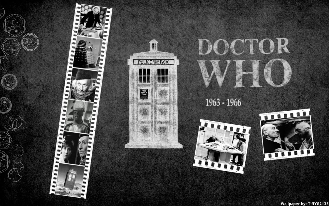 TARDIS grayscale Doctor Who William Hartnell First Doctor wallpaper