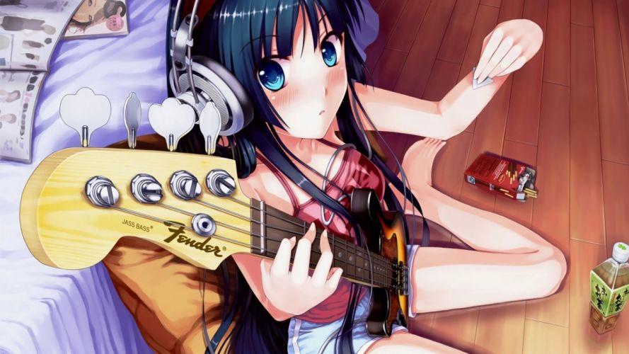 headphones K-ON! blue eyes guitars Akiyama Mio shorts anime girls guitarists guitar picks wallpaper