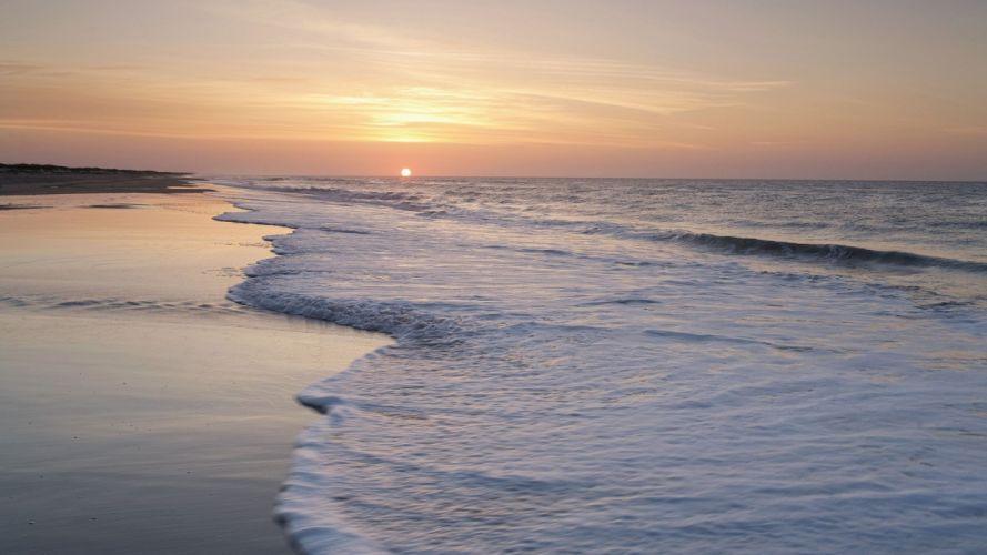 sunrise islands North Carolina sea wallpaper