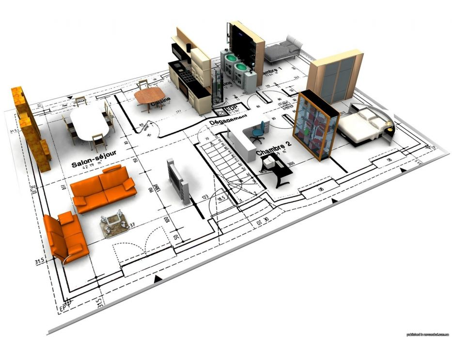 3D view architecture houses 3D modeling renders wallpaper