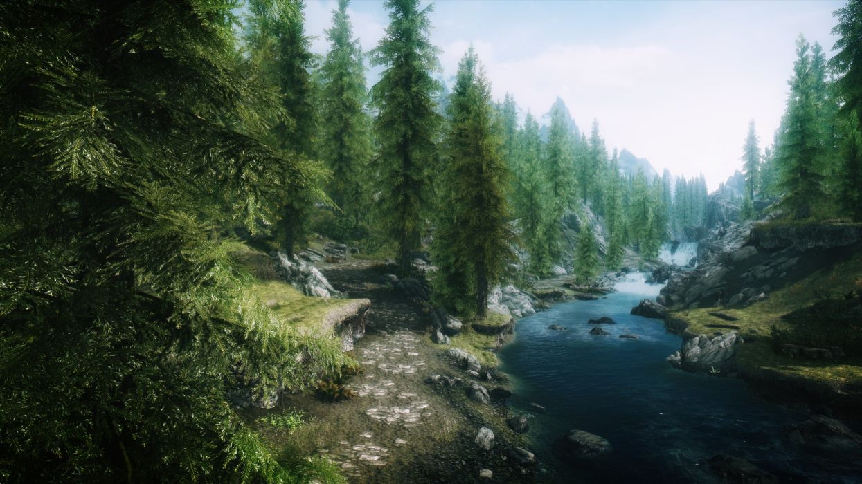 Video Games Landscapes Nature Trees Forests Rivers The Elder Scrolls