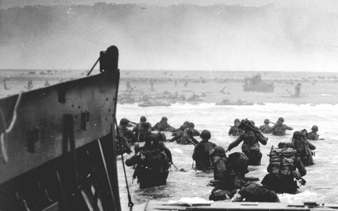 Soldiers American Normandy History Grayscale World War Ii