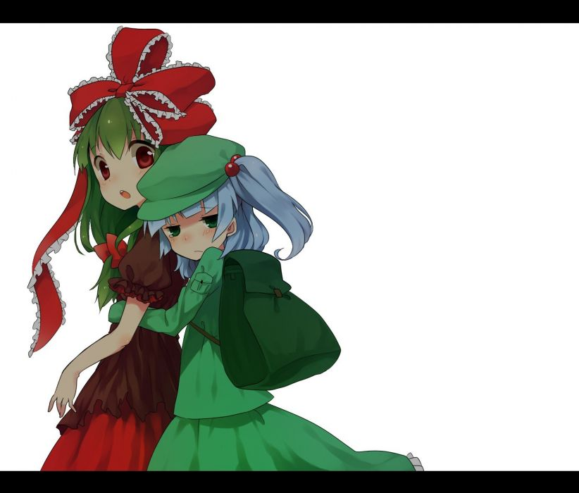 video games Touhou Kawashiro Nitori  Kagiyama Hina simple background wallpaper