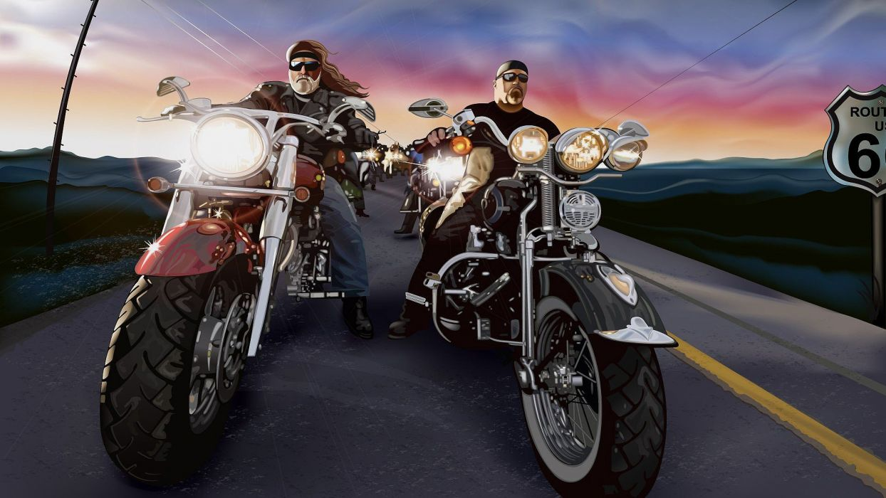artwork bikers widescreen wallpaper