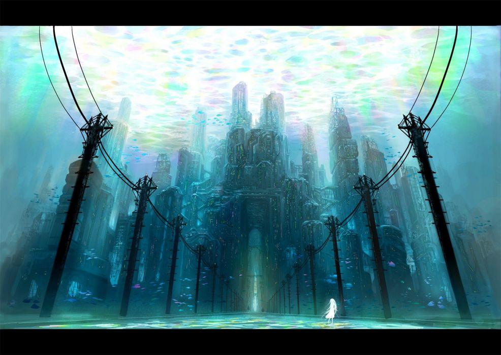 ocean architecture fish power lines artwork underwater wallpaper