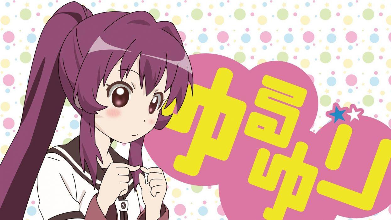 school uniforms purple hair blush Yuru Yuri anime girls Sugiura Ayano wallpaper