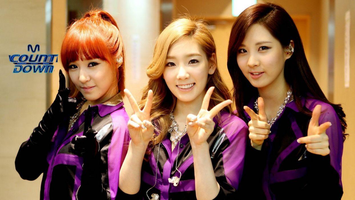 women music Girls Generation SNSD Asians Seohyun Korean Korea Asia Kim Taeyeon K-Pop Tiffany Hwang South Korea V sign straight bangs wallpaper