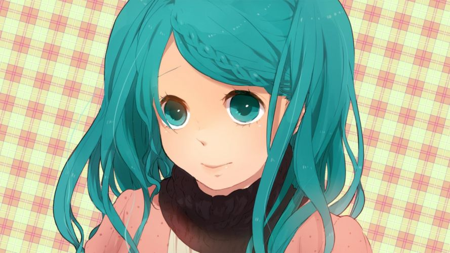 close-up Vocaloid Hatsune Miku long hair green eyes green hair checkered braids simple background faces wallpaper