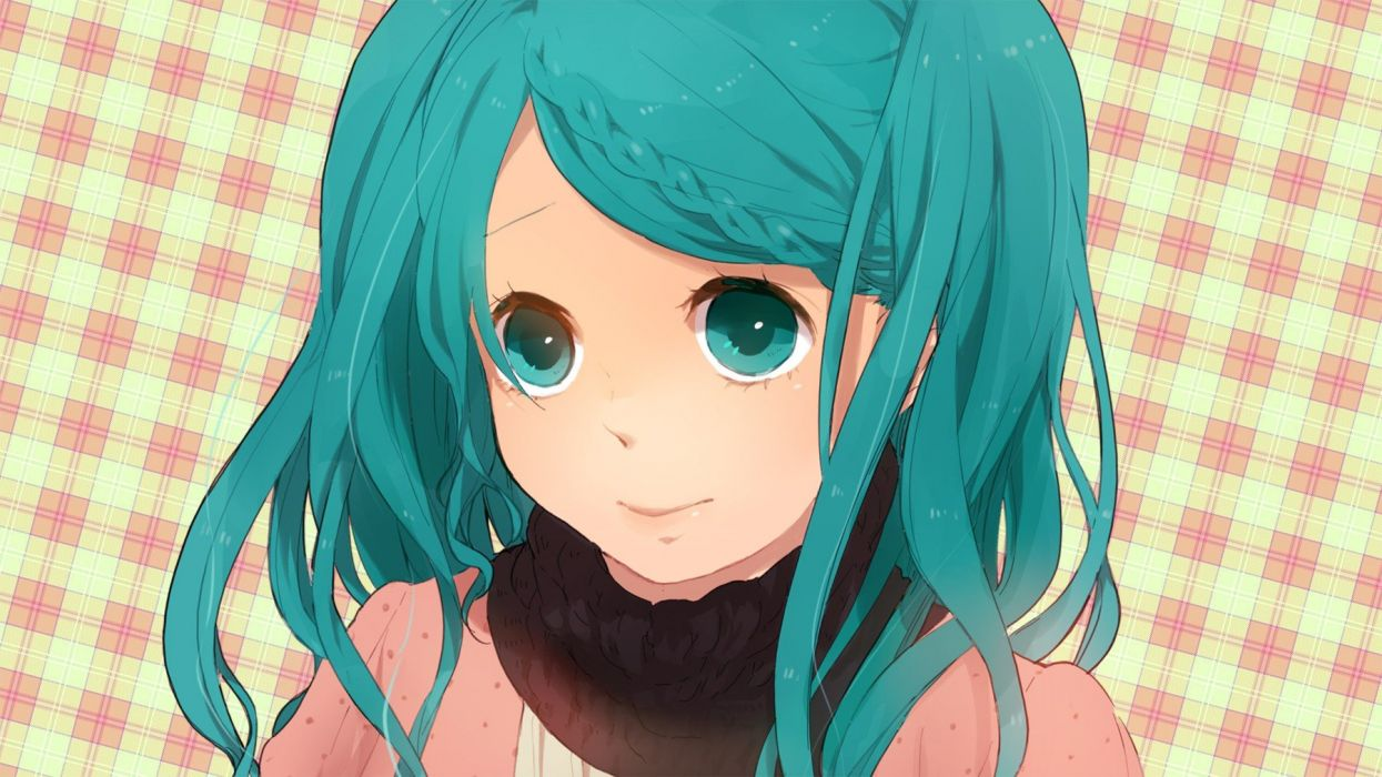 close-up Vocaloid Hatsune Miku long hair green eyes green hair checkered braids simple background faces wallpaper