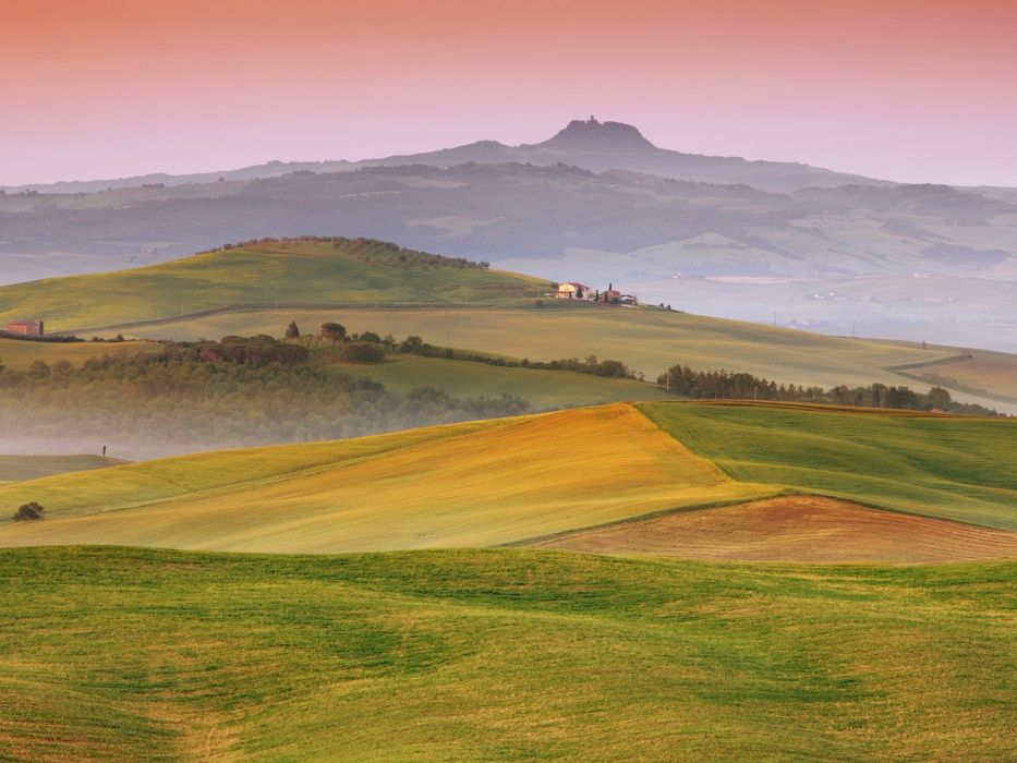 landscapes fields hills Italy Tuscany wallpaper