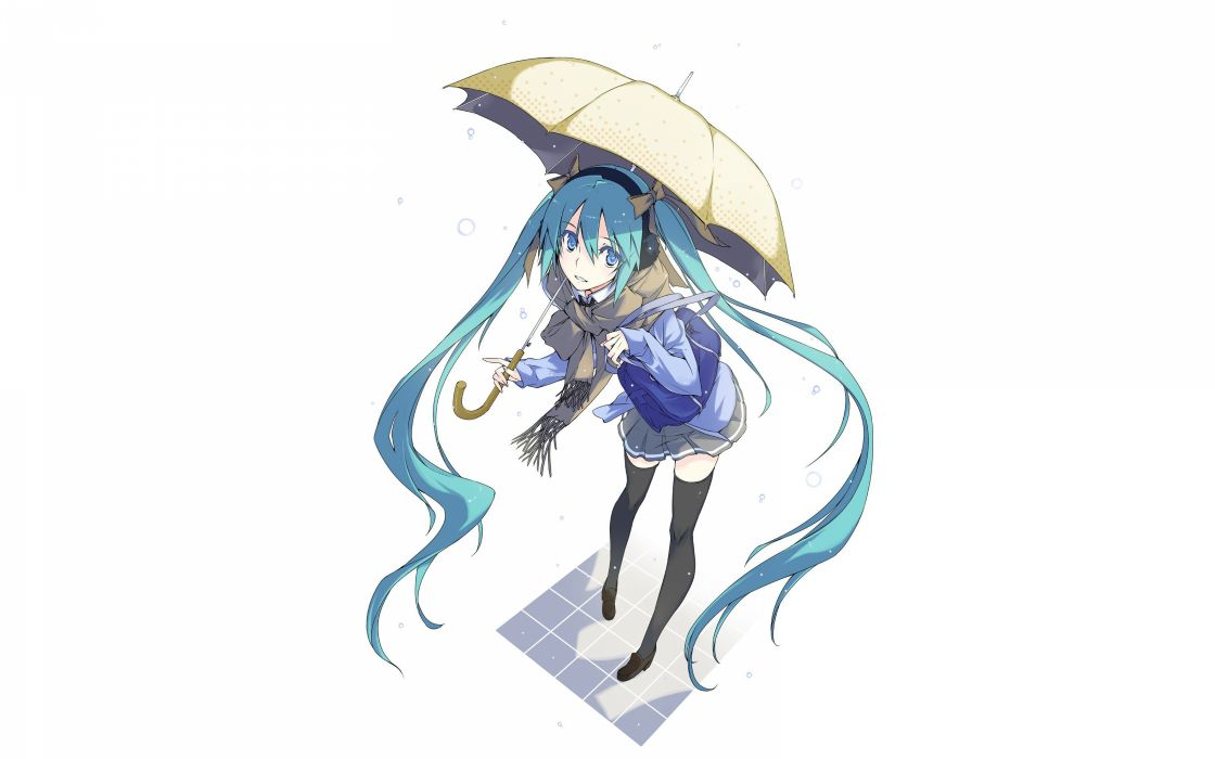 headphones Vocaloid Hatsune Miku blue eyes skirts long hair blue hair shoes jackets thigh highs twintails bows water drops umbrellas scarfs simple background anime girls white background handbag wallpaper