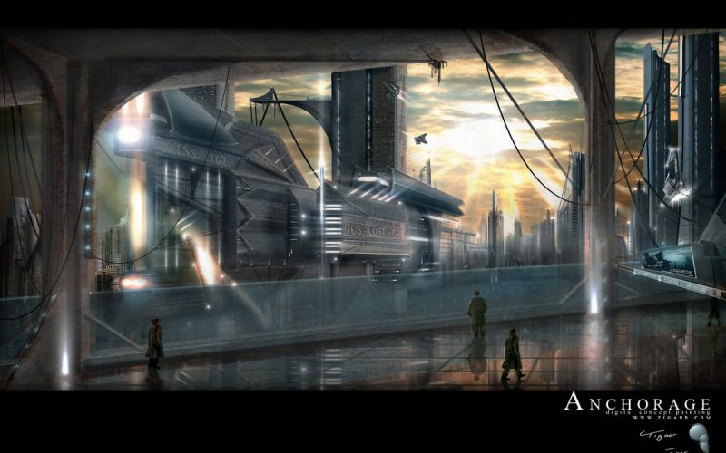 futuristic science fiction cities wallpaper