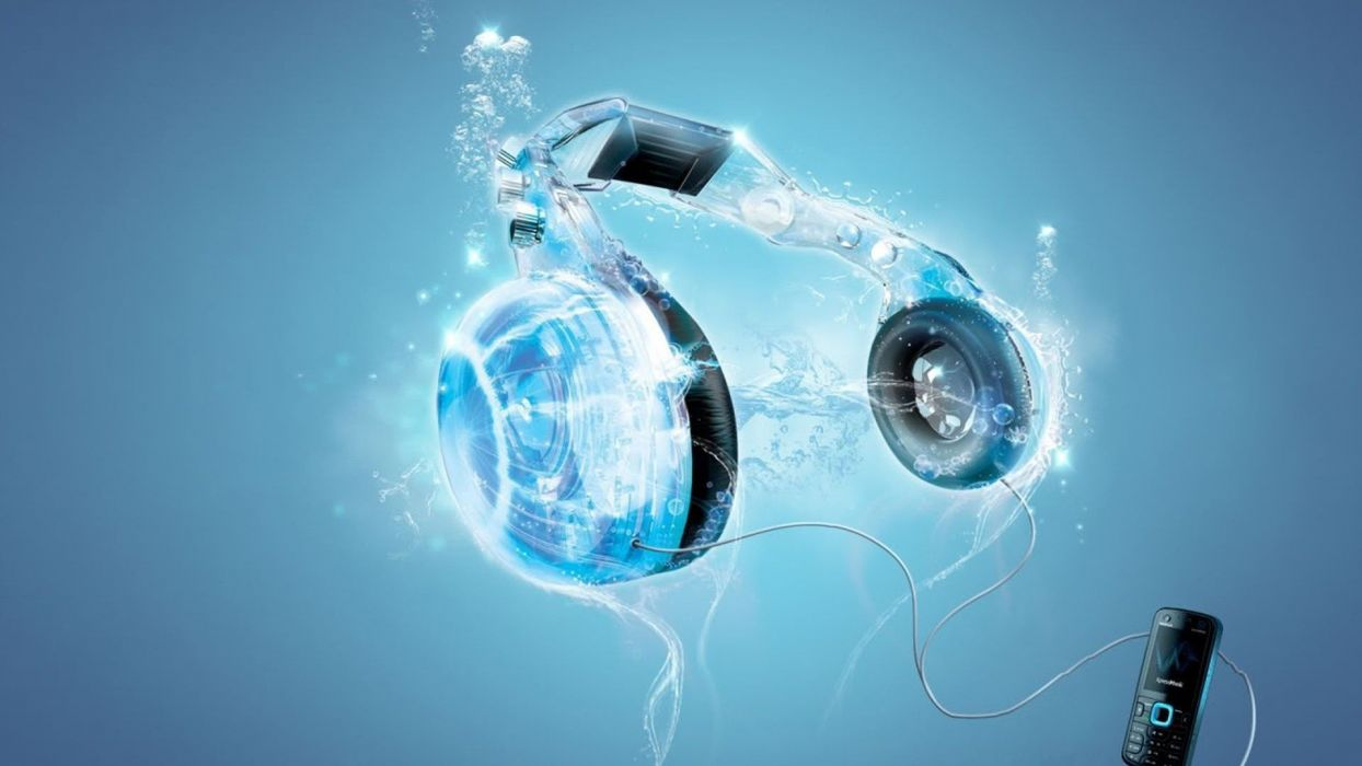 headphones blue music 3D art wallpaper