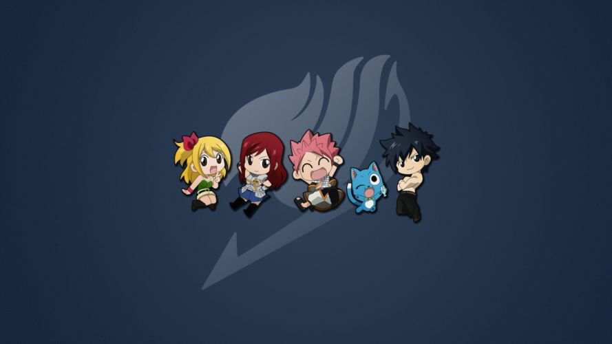 happy chibi Fairy Tail Scarlet Erza Fullbuster Gray Dragneel Natsu simple background Heartfilia Lucy wallpaper