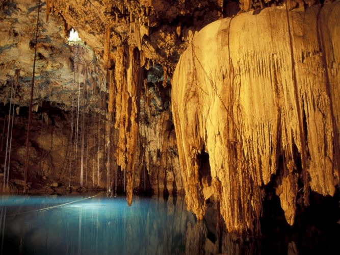 nature caves Mexico underground lakes rock formations wallpaper