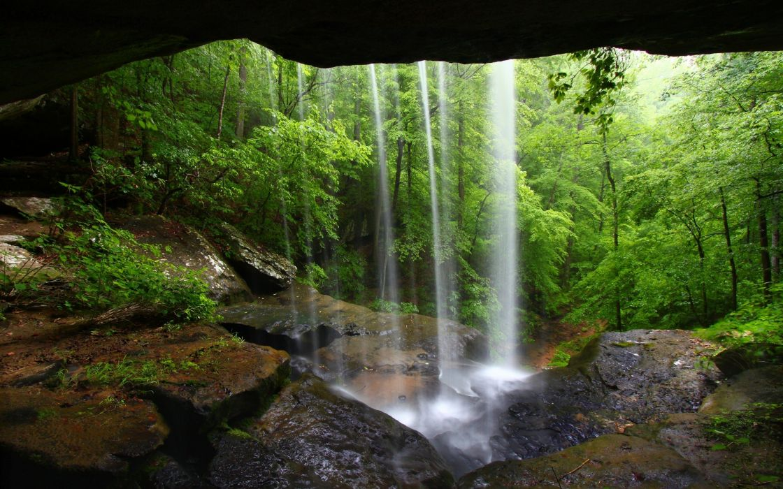caves forests waterfalls wallpaper