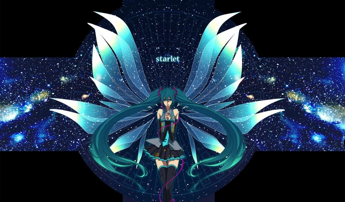 wings Vocaloid stars Hatsune Miku twintails space wallpaper