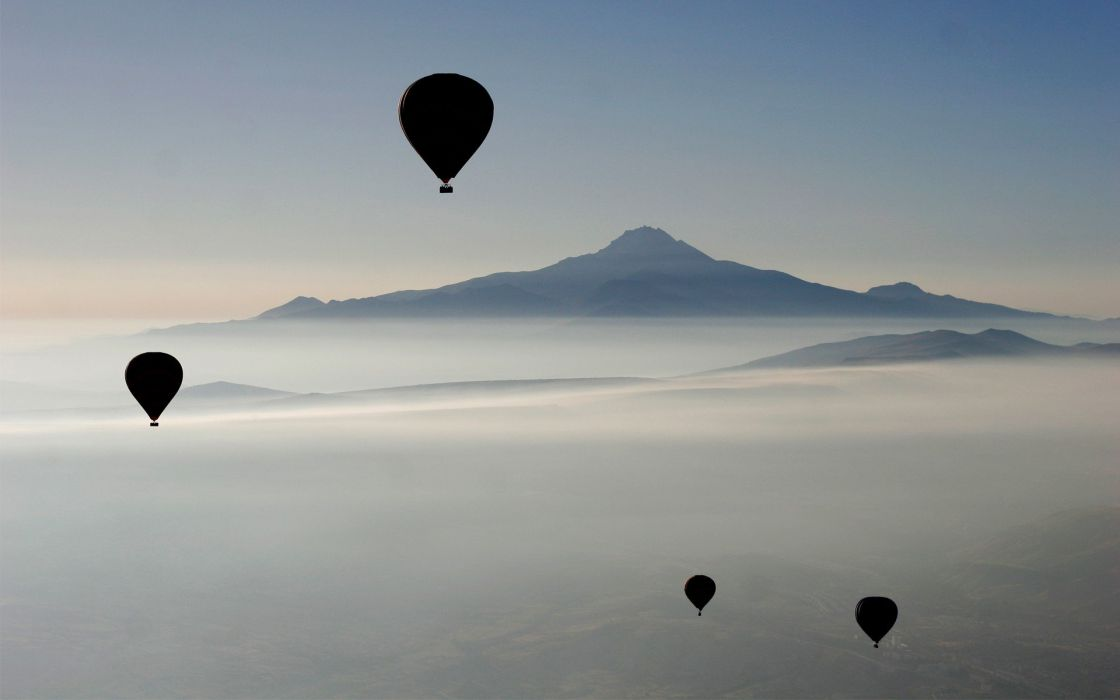 mountains nature silhouettes mist hot air balloons wallpaper