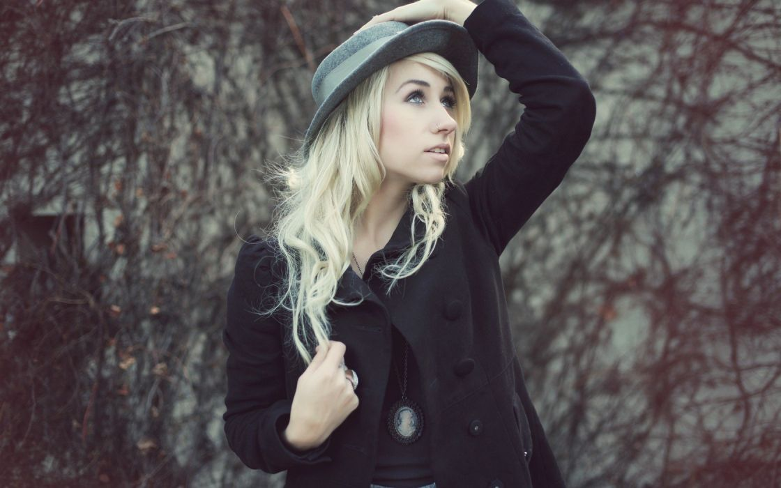 blondes outdoors hats pierced nose wallpaper