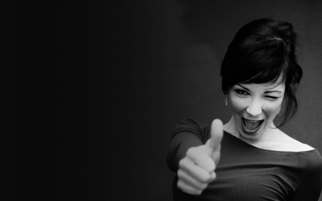 brunettes monochrome thumbs up wallpaper