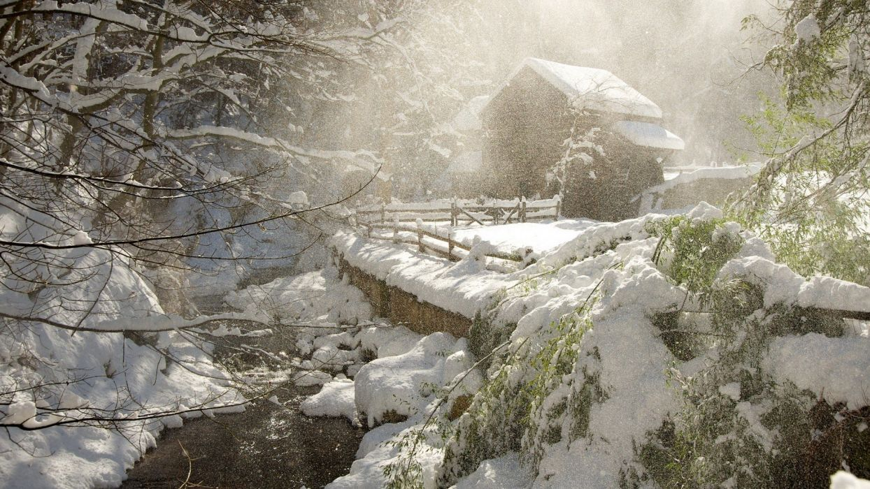 landscapes nature winter snow forests rivers land wallpaper