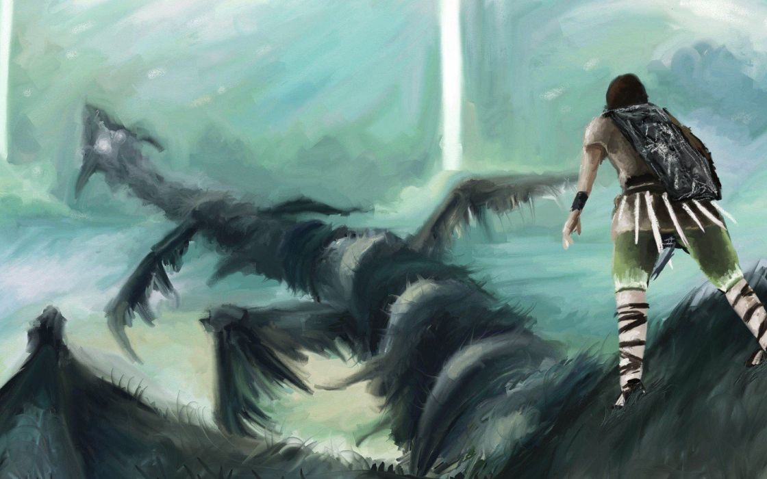 flying colossus Shadow of the Colossus artwork wallpaper