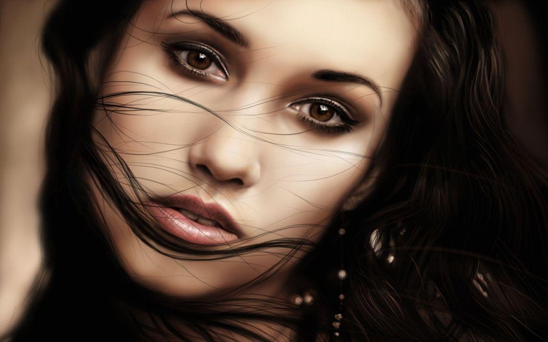 women artwork faces wallpaper