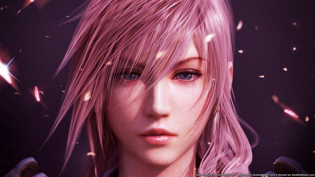 women blue eyes long hair pink hair Final Fantasy XIII wallpaper