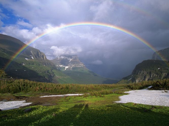 landscapes rainbows wallpaper