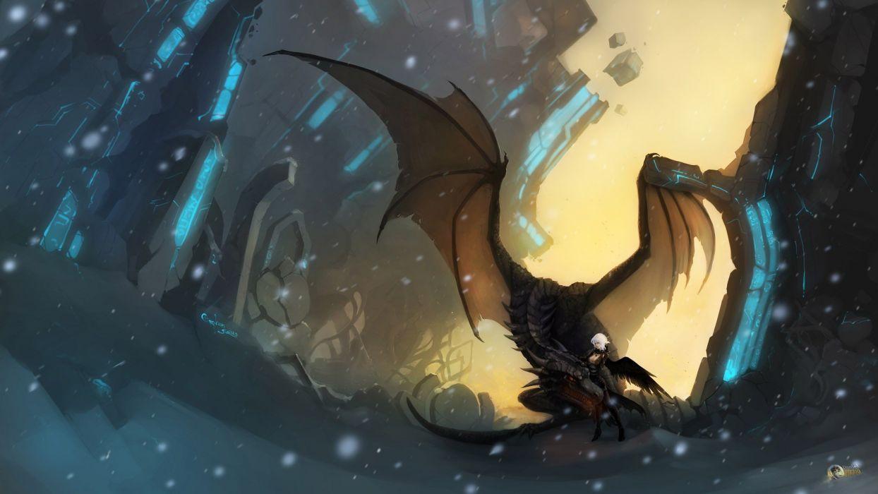 women snow wings dragons fantasy art short hair artwork white hair wallpaper