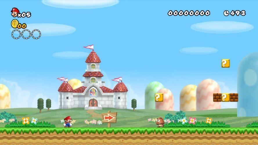 Mushroom Kingdom new super mario bros wii wallpaper
