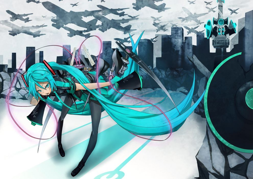 Vocaloid stockings Hatsune Miku airplanes long hair buildings Love is War green hair twintails detached sleeves wires megaphones wallpaper