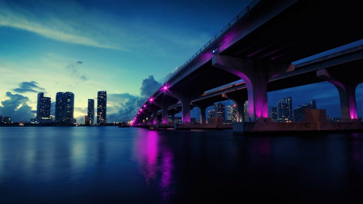 light water clouds landscapes cityscapes bridges buildings Miami rivers skyscapes wallpaper