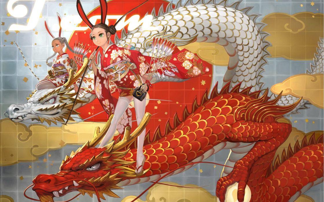 dragons dress thigh highs artwork bunny ears yukata Japanese clothes anime girls wallpaper