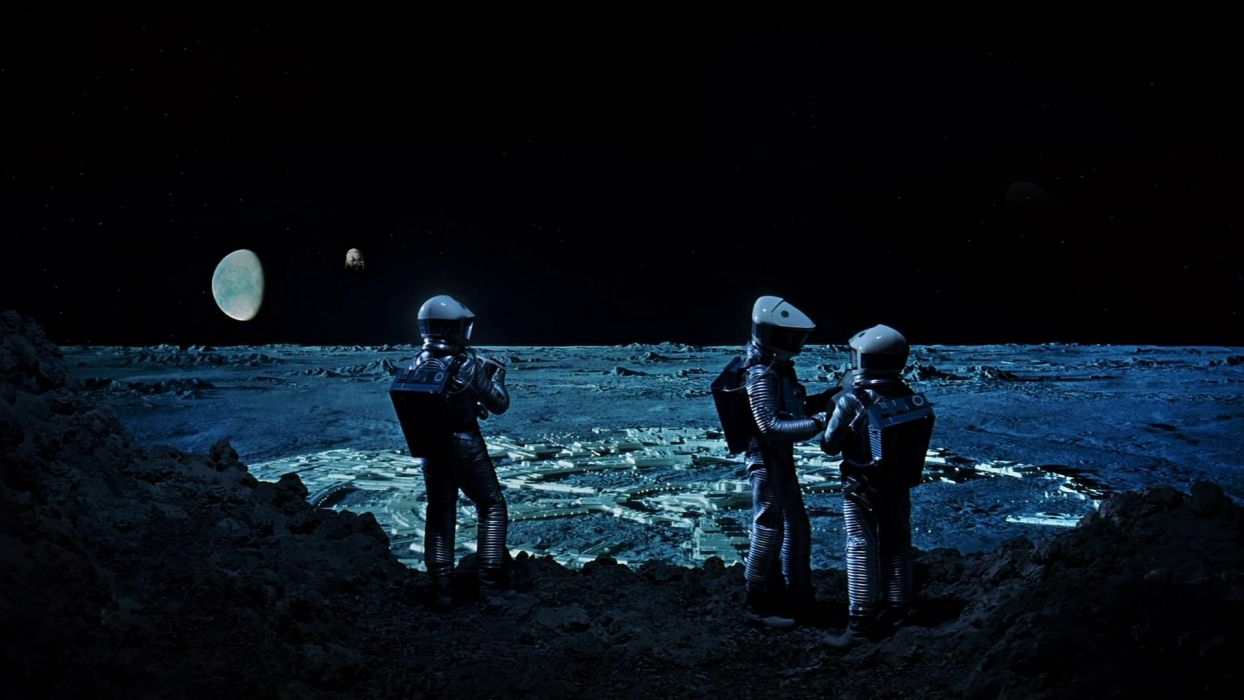 Moon astronauts 2001: A Space Odyssey science fiction wallpaper