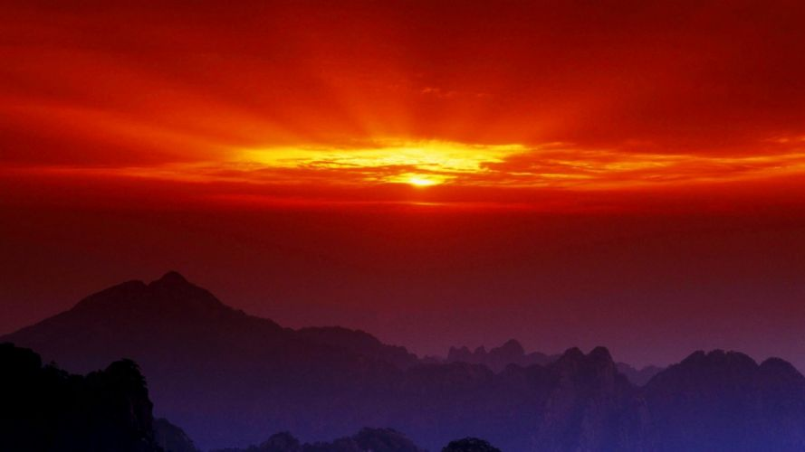 sunset landscapes nature China wallpaper