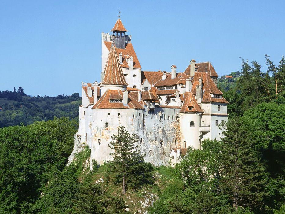 nature castles Romania vampires Dracula DrAIAAcula by Bram Stoker wallpaper